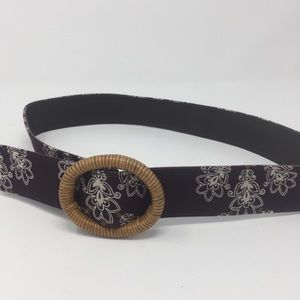 Brown and Gold Print Slide Belt Braided Buckle